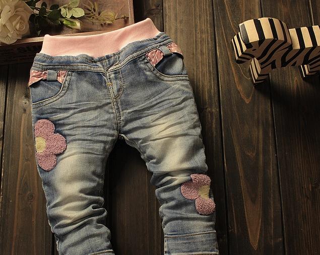 Jeans Kara cu flori roz aplicate