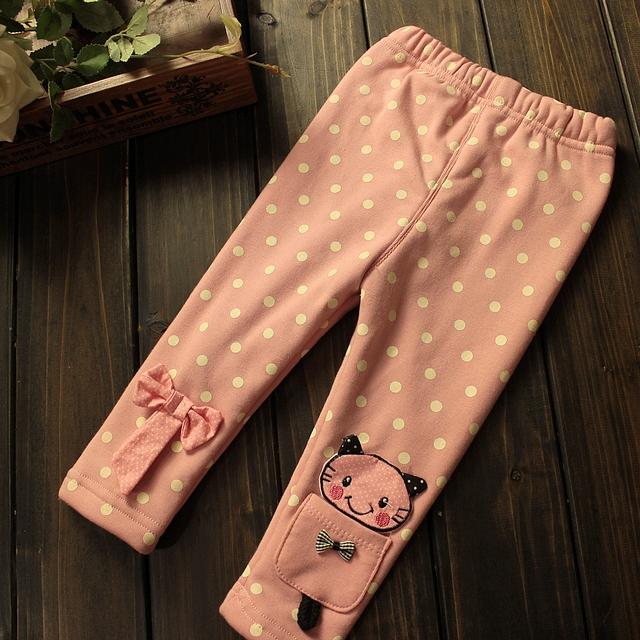 Pantaloni Kandie cu pisicute si buzunar pe picior