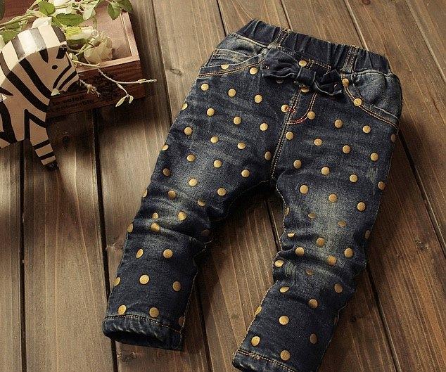 Jeans grosi cu funda si buline aurii - Agata